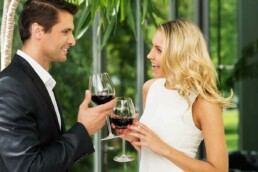 Couple Drinking Wine and Oversharing on a First Date
