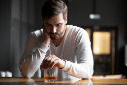 Man Drinking Alone and Feeling Lonely