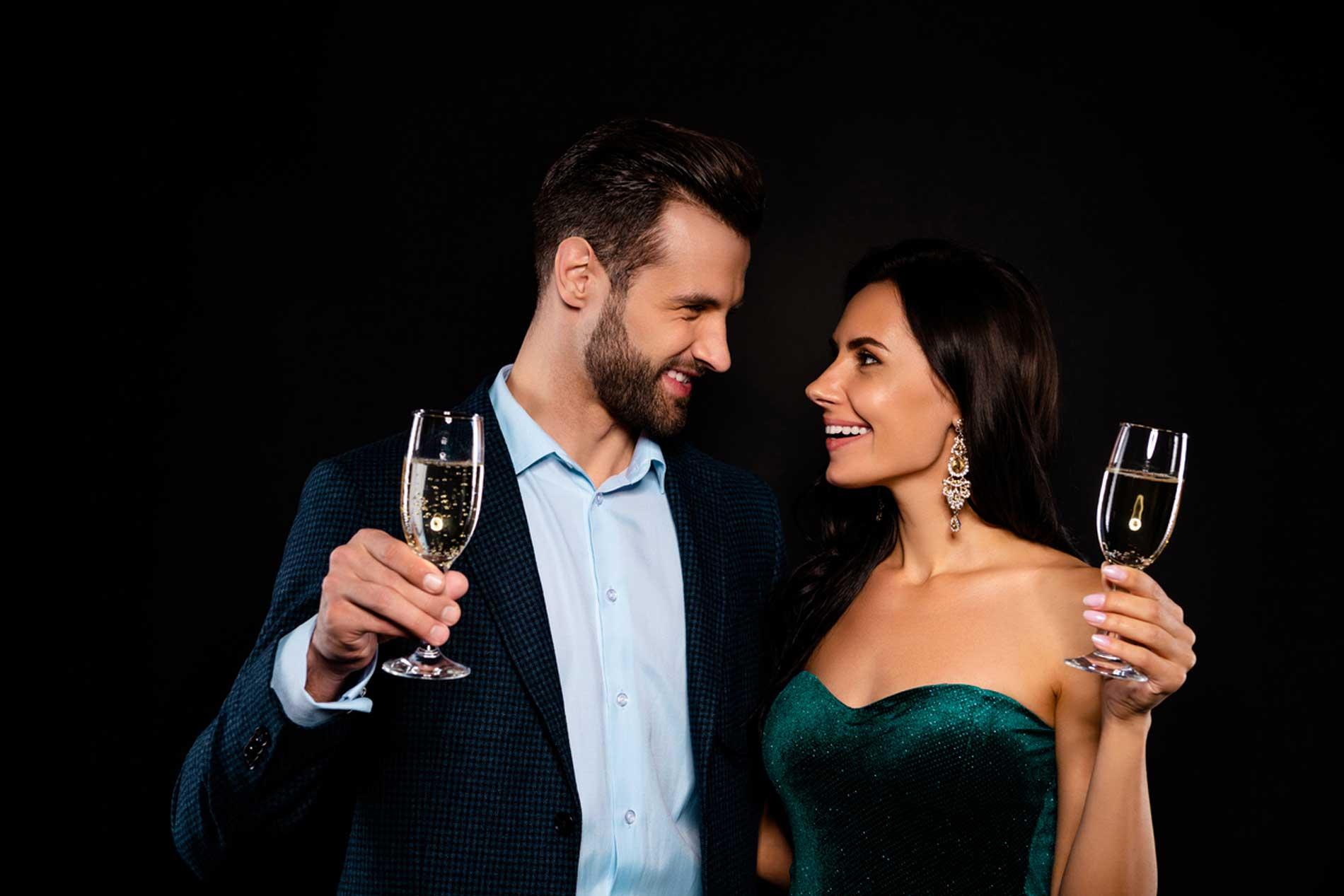 happy couple in evening wear