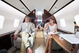 Couple Traveling Together on Private Jet